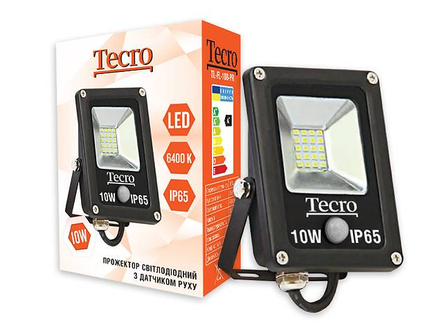 бу Светодиодный прожектор Tecro TL-FL-10B-PR 10W 6400K с датчиком движения в Харькове