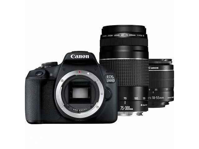 продам Цифровой фотоаппарат Canon EOS 2000D 18-55 + 75-300 kit (2728C021AA) бу в Києві