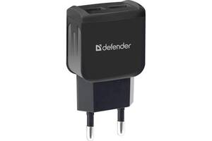 Зарядний пристрій Defender EPA-13 black, 2xUSB, 5V/2.1 A, package (83840)