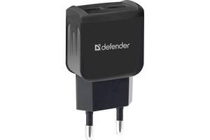 Зарядное устройство Defender EPA-13 black, 2xUSB, 5V/2.1A, package (83840)