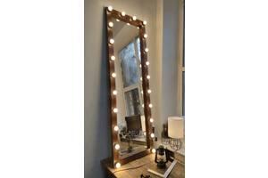 Зеркало с деревянной рамой в полный рост с подсветкой (лампы в комплекте)