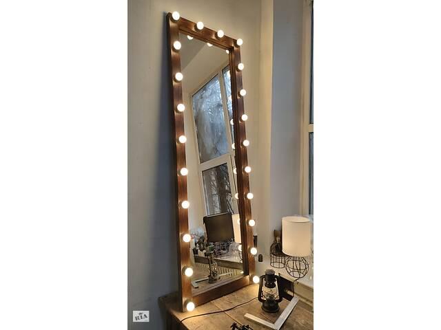 продам Зеркало с деревянной рамой в полный рост с подсветкой (лампы в комплекте) бу в Днепре (Днепропетровск)