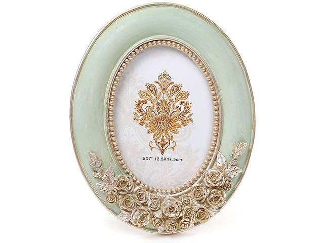 """купить бу Фоторамка Tudor """"Розы"""" для фото 12.5х17.5см (мятный с золотом) овальная в Одесі"""