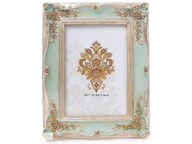 """бу Фоторамка Tudor """"Розы"""" для фото 12.5х17.5см (мятный с золотом) в Одесі"""