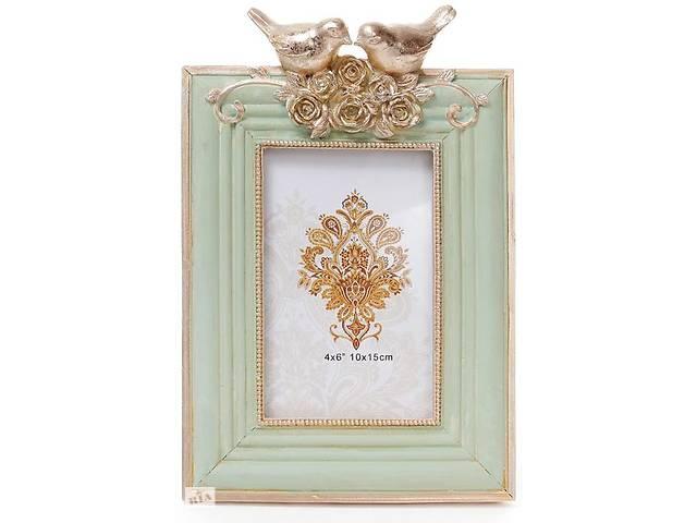 """бу Фоторамка Tudor """"Синички"""" для фото 10х15см (м'ятний з золотом) в Одесі"""