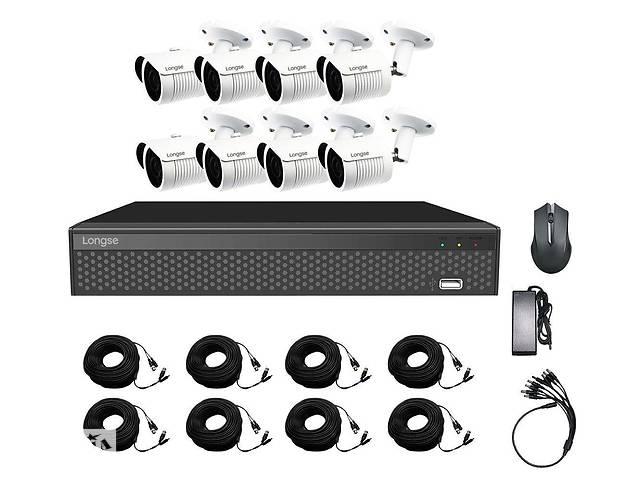 купить бу Комплект зовнішнього відеоспостереження на 8 камер Longse XVR208D8M200, 2 Мп, HD1080P в Харкові
