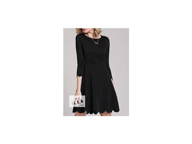 Чёрное платье воланами с круглым воротником - объявление о продаже  в Николаеве