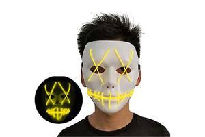 Неоновая Маска для вечеринок с подсветкой Led Mask 1 Yellow SKL25-149749