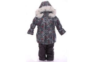 Зимний костюм для девочки Классика с рисунком серый с башней