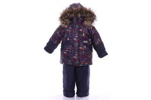 Зимний костюм для мальчика Классика с рисунком синие машинки