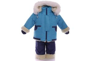 Зимний костюм на сплошном меху бирюзовый