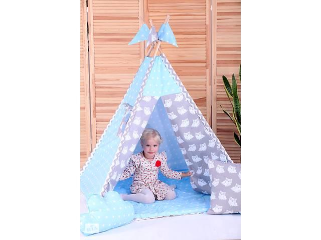 продам Вигвам Хатка комплект Ноченька Голубой с серым с подушками бу в Одессе