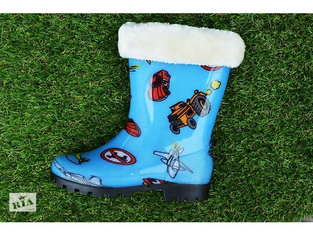 продам Дитячі підліткові гумові чоботи з утеплювачем сині 28 - 35 бу в  Южноукраїнську 3724cac17bbd1