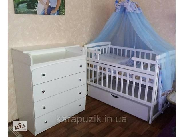 АКЦИЯ!  кроватка на шарнирах Лодочка Де сон + комод + постельный набор 9в1+ матрас Белый