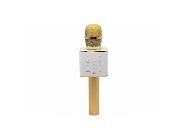 продам Беспроводной караоке микрофон с встроенными динамиками Bluetooth USB Q7 UTM в чехле Gold (1743-DM) бу в Киеве