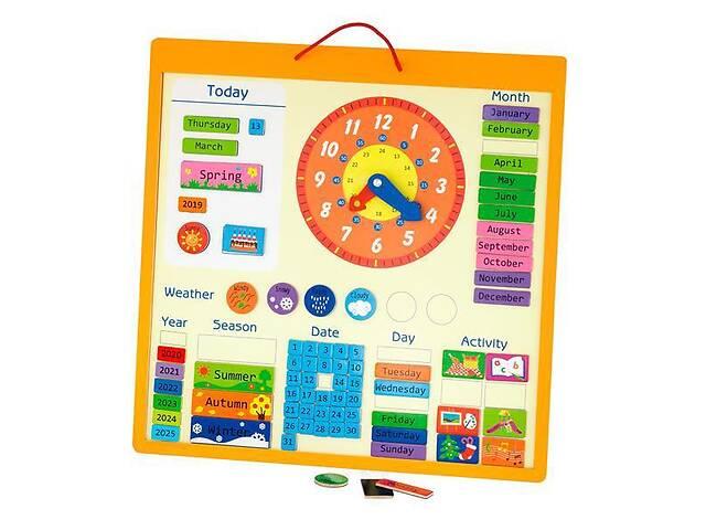 продам Деревянный магнитный календарь Viga Toys с часами на английском языке из 75 деталей, разноцветный бу в Киеве