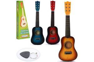 Детская деревянная гитара Metr+ 6 струн 52 см., синяя