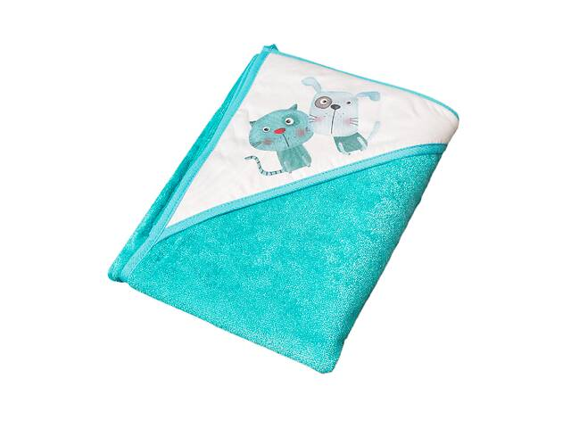 Детское махровое полотенце с капюшоном для купания малыша Tega PK-008 Кот и пес 100X100, голубой- объявление о продаже  в Киеве