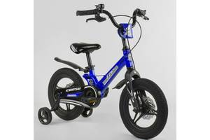 """Детский двухколёсный велосипед 14"""" с магниевой рамой литыми дисками дисковые тормоза Corso MG-85328 синий"""