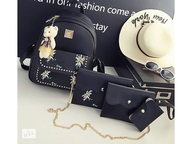 купить бу Детский комплект рюкзак сумочка клатч кошелек визитница 4 в 1. Рюкзачок сумка детская набор Черный в Днепре (Днепропетровск)