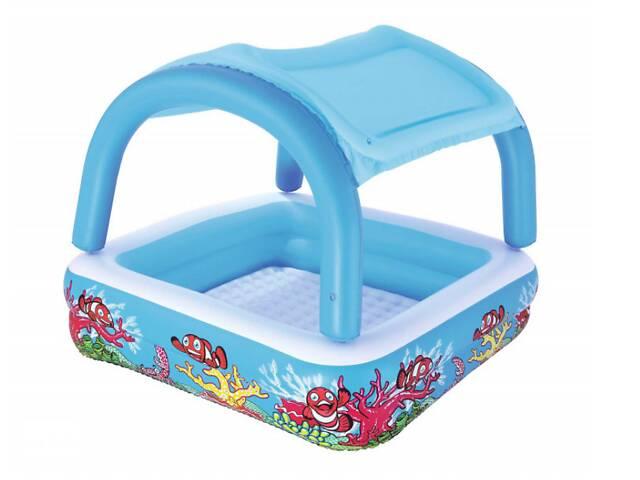 купить бу Детский надувной бассейн Bestway 52192 147 х 147 х 122 см Голубой с навесом в Одессе