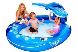 Детский надувной бассейн Intex 57435 «Веселый Кит» с фонтаном, (размер 208 х 163 см) (объем 208 л)
