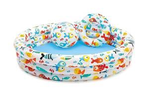 Детский надувной, круглый бассейн Intex 59469 «Аквариум», (размер 132*28 см), в комплекте с мячом и кругом