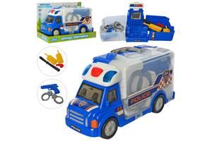 Детский полицейский игровой набор 2в1Limo Toy в машинке-чемодане со световыми и звуковыми эффектами, синий