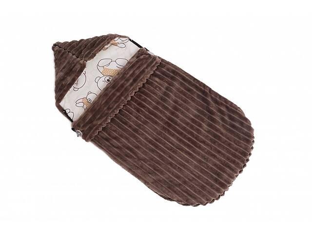 купить бу Детский теплый демисезонный конверт в коляску Twins Trip 80х35 см коричневый в Києві