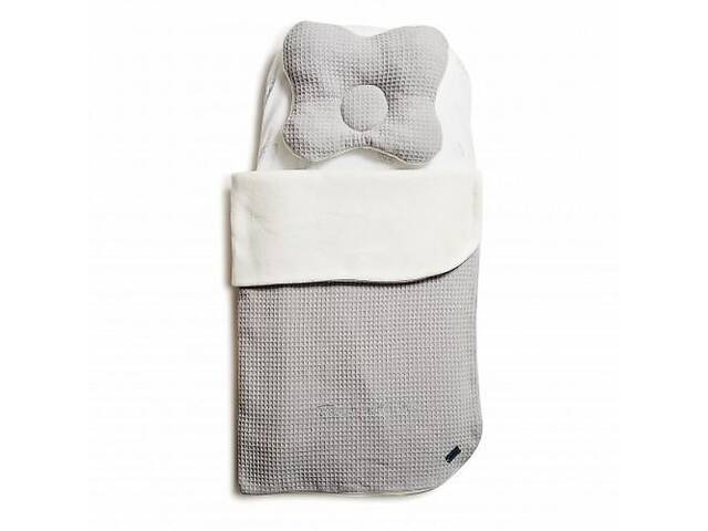 бу Детский утепленный набор вколяску Twins Waffle autumnплед 80х60 см, подушка, простынь, серый. Подарок внуку в Киеве