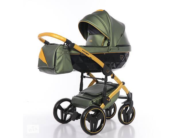 Дитяча коляска 2 в 1 Junama Diamond Fluo line II оливкова з жовтим 06