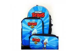Комплект: рюкзак, сумка и пенал Superbag Леон Акула Brawl Stars (PO226L)