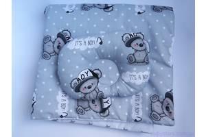 "Комплект в коляску ""Мишки на сером"": подушка и одеяло 80х75 см"