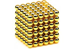 Конструктор головоломка Neocube 216 кульок по 5мм в боксі, неокуб золотий