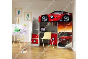 Кровать-чердак со шкафом и рабочей зоной кровать-машина БМВ кроасная