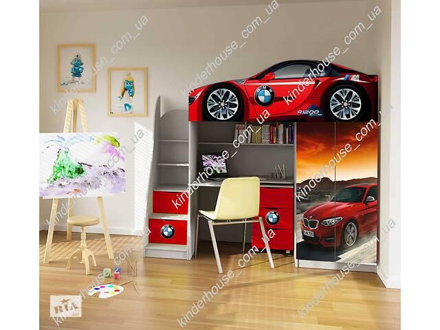 купить бу Кровать-чердак со шкафом и рабочей зоной кровать-машина БМВ кроасная в Львове
