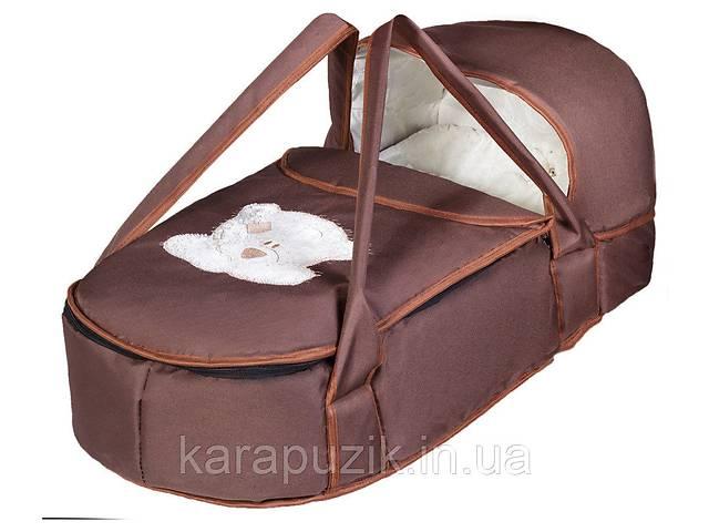 купить бу Люлька-переноска Babyroom BLA-056 с твердым дном аппликация  шоколад (мордочка мишки штопаная) в Києві