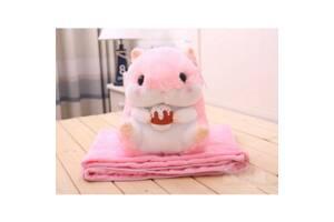 Мягкая игрушка Хомяк 3 в 1 с пледом BabySweet 40 см  Pink (565667f-FL)