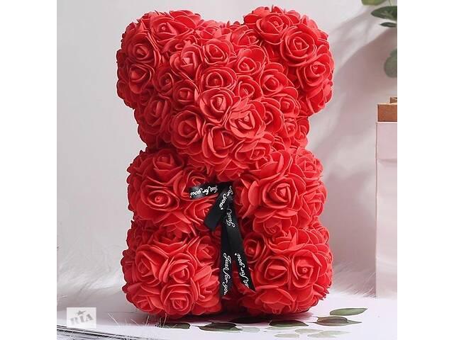 Мишка из красных роз 25 см в подарочной коробке 3D Teddy Flower Оригинальный подарок девушке в подарочной упаковке Кр...