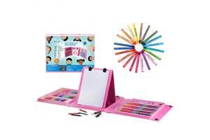 Набор для рисования и творчества Super Mega Art Set (MK 2321) с мольбертом в чемоданчике 208 предметов  розовый
