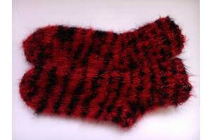 Шкарпетки мохер шерсть чорно - червоні (бордові). дуже теплі. 37 розмір