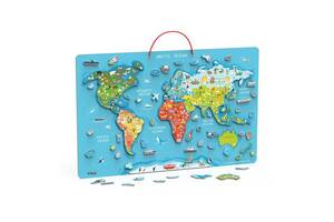 Пазл магнитный Viga Toys Карта мира с маркерной доской, на английском (44508EN)