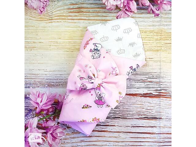 Розовый конверт на выписку в роддом летний для новорожденных для девочки