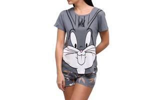 Трикотажная женская пижама футболка с шортами Кролик серый, M
