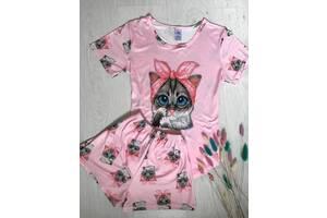 Трикотажний костюм для будинку жіноча піжама футболка з шортами Котик рожевий, М