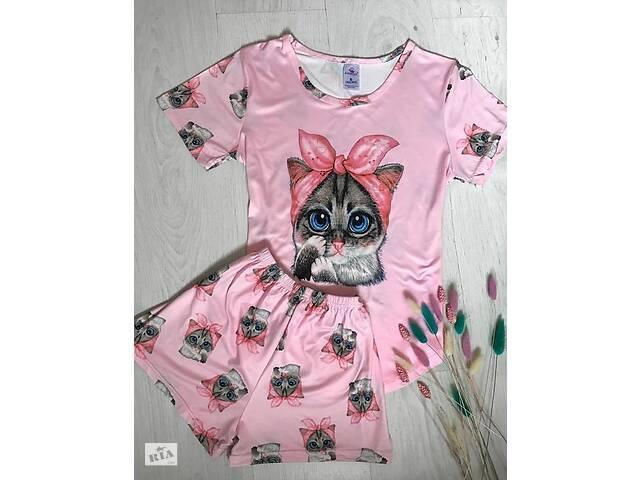бу Трикотажный костюм для дома  женская пижама футболка с шортами Котик розовый, М в Києві