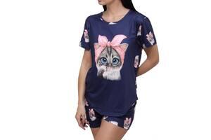 Трикотажний Костюм для будинку жіноча піжама футболка з шортами Котик синій, L