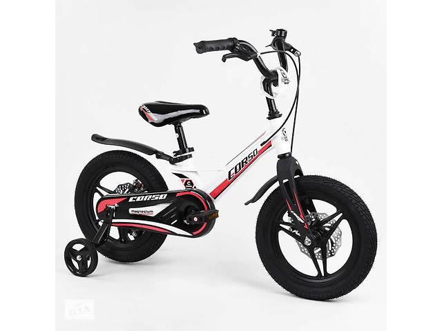 """Велосипед детский с магниевой рамой, c дисковыми тормозами, 14"""", 2-х колёсный """"CORSO"""" White/Black/Red (99989)- объявление о продаже  в Одессе"""