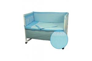 Защитное ограждение для кроватки Руно Голубой с кружевом 60х120 см (922КУ_Голубой)
