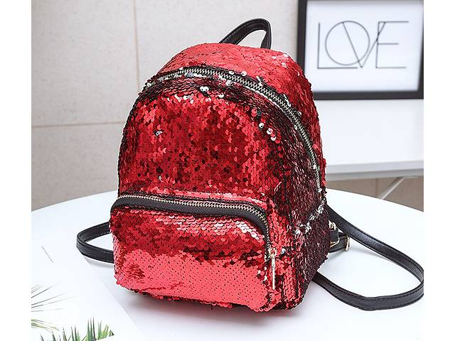 купить бу Женский рюкзак с пайетками Красный в Днепре (Днепропетровск)